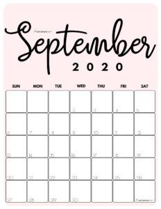 September 2020 Cute Monthly Calendar Pink PDF | SaturdayGift