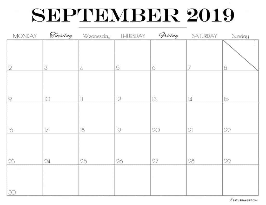 Pretty printable September 2019 Calendar horizontal Monday start Dated {Free Printables}   SaturdayGift