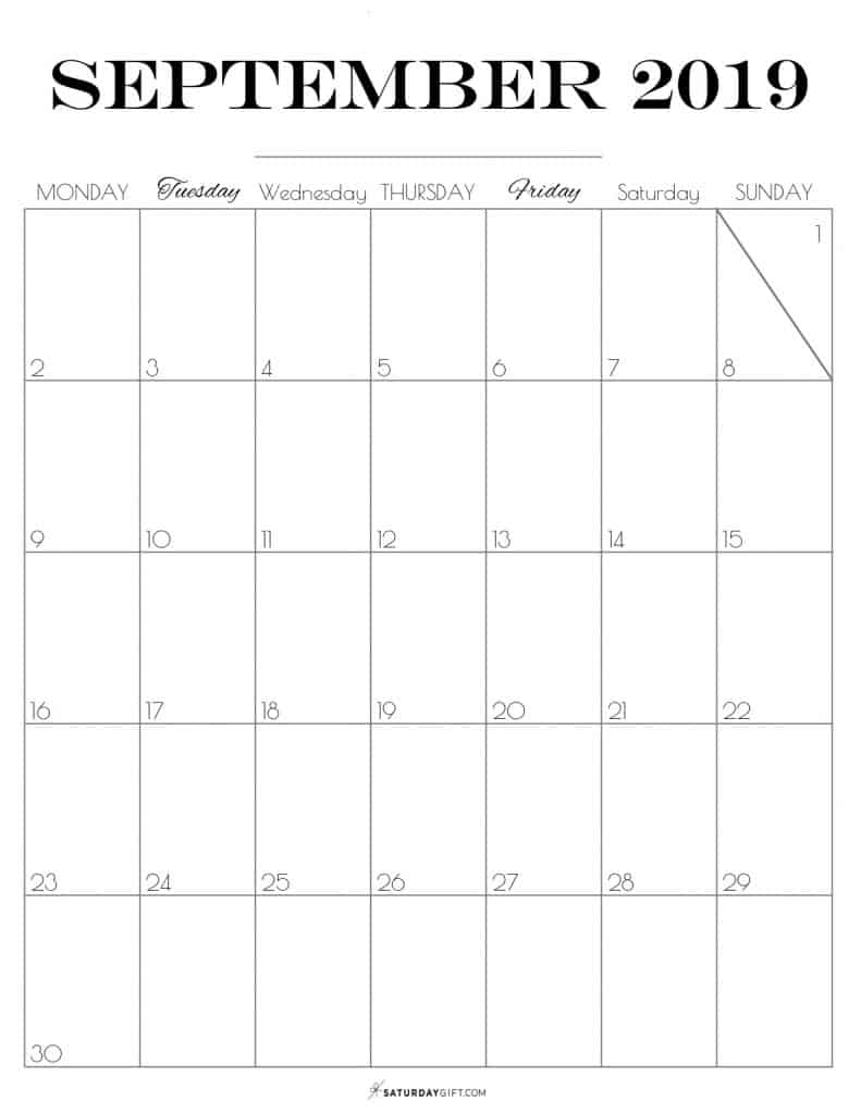 Pretty printable September 2019 Calendar vertical Monday start Dated {Free Printables}   SaturdayGift