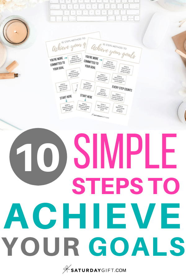 Achieve your goals in no time | Printable Cheat sheet | Step by step instructions | Goal setting | Goal Achieving | Goal getter | Self Development | Personal Development | Set goals | How to achieve goals | SaturdayGift | Saturday gift #SaturdayGift