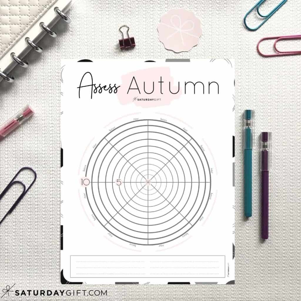 Pink Autumn wheel of life worksheets to assess your life