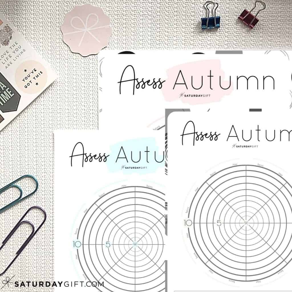 Pink, blue and black&white Autumn wheel of life worksheets to assess your life