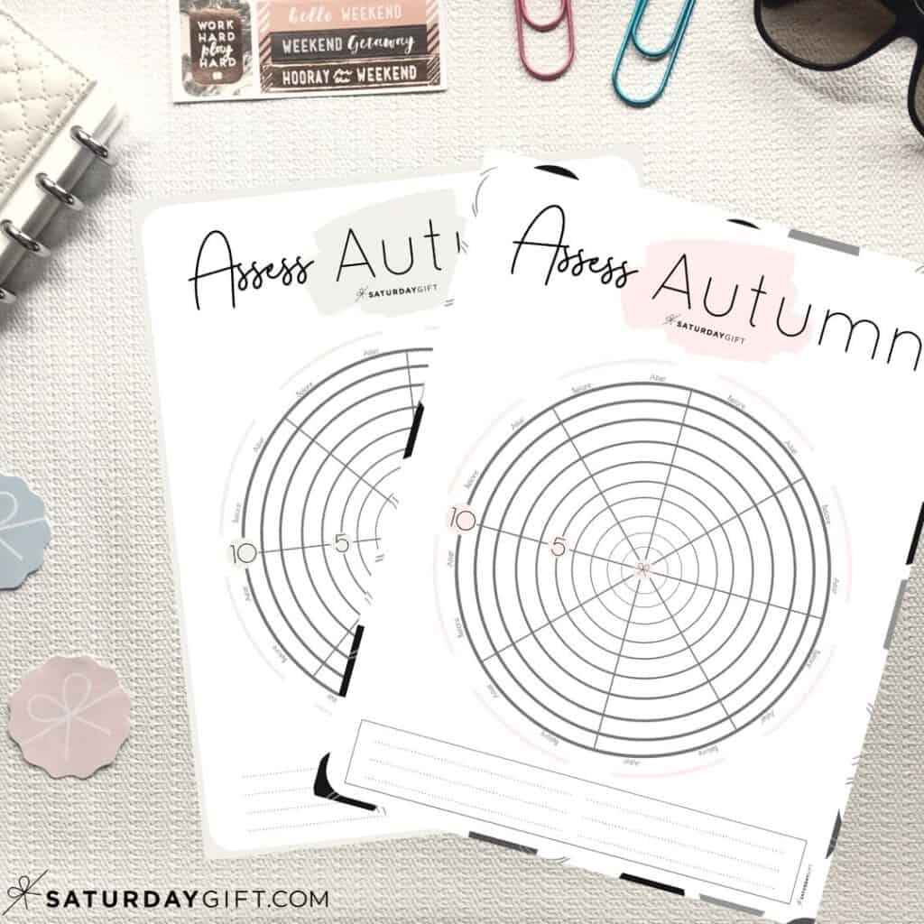 Pink and Beige Autumn wheel of life worksheets to assess your life