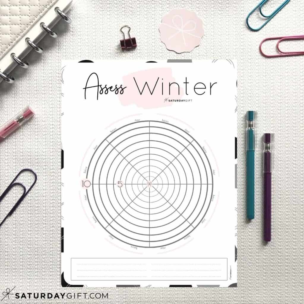 Pink Winter wheel of life worksheets to assess your life