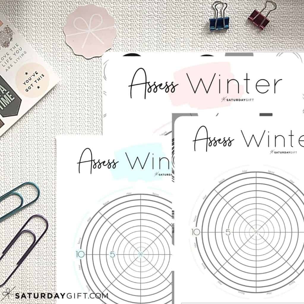 Pink, blue and black&white Winter wheel of life worksheets to assess your life