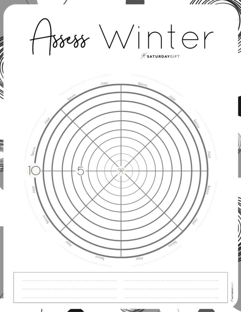 Black&White Level 10 worksheet to assess your life this winter