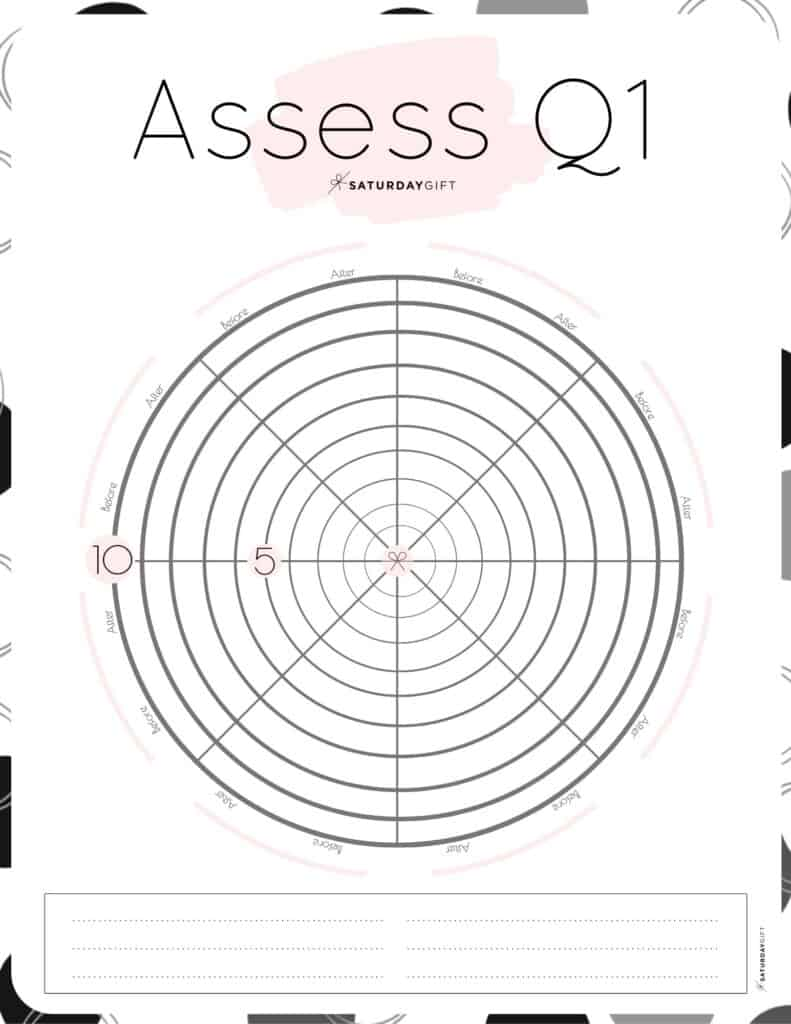 Quarter one Wheel of life worksheet Pink | SaturdayGift