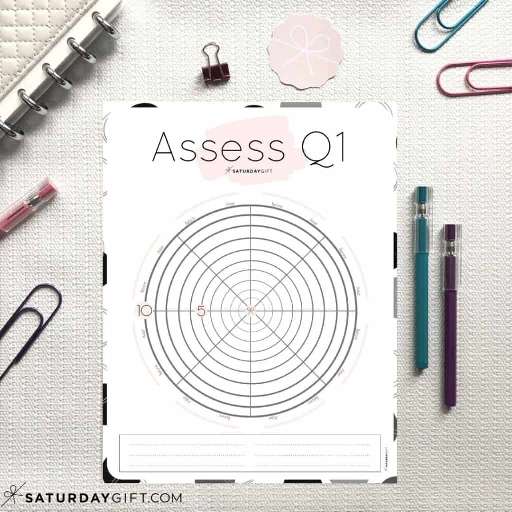 Want to set goals for the first quarter of the year? Awesome! But before you do that, assess your life with this quarter one wheel of life worksheet and find out in which areas of your life you're suffering and surviving and in which you're already thriving.