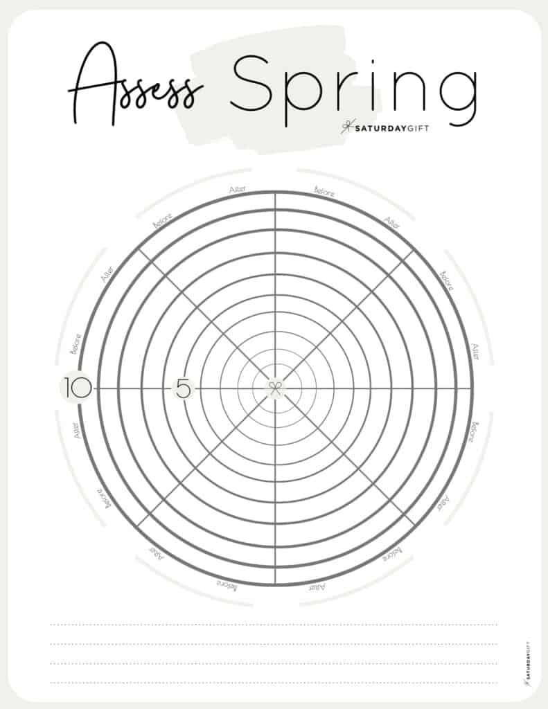 Assess your life with the spring wheel of life {Free printable worksheet} Beige | SaturdayGift
