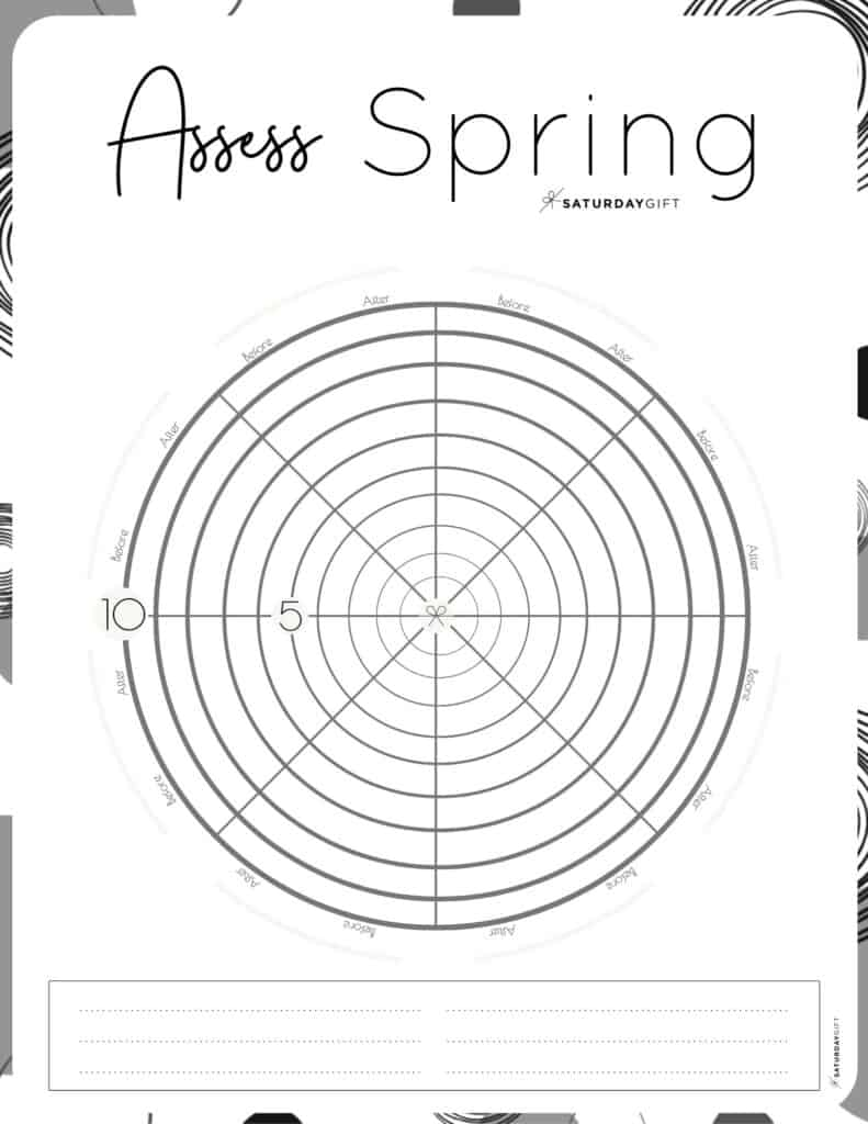 Assess your life with the spring wheel of life {Free printable worksheet} Black & White | SaturdayGift