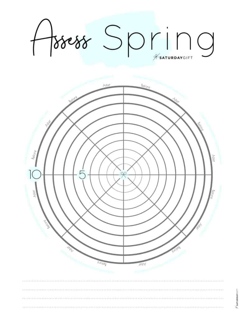 Assess your life with the spring wheel of life {Free printable worksheet} Blue | SaturdayGift