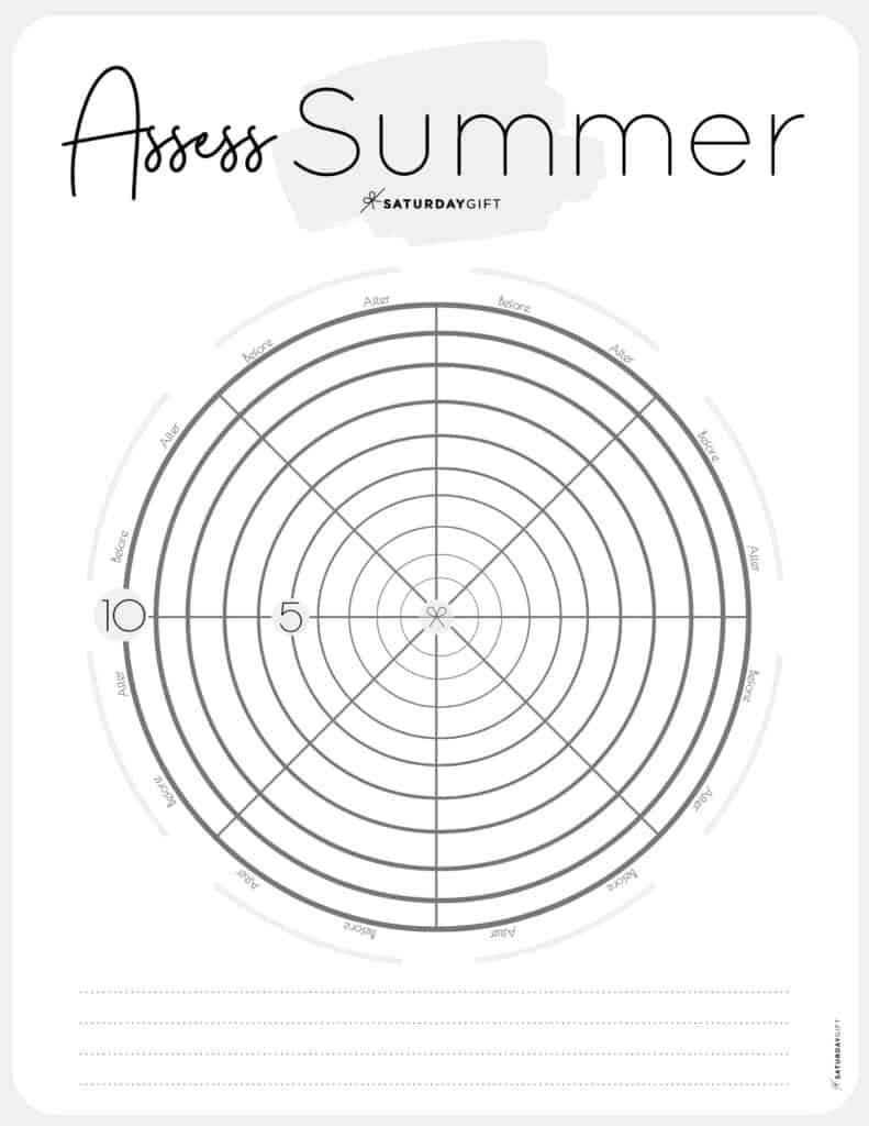 Assess your life with the summer wheel of life beige {Free printable worksheet} | SaturdayGift