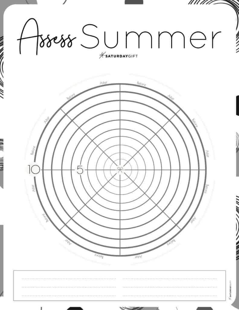 Assess your life with the summer wheel of life black & white {Free printable worksheet} | SaturdayGift