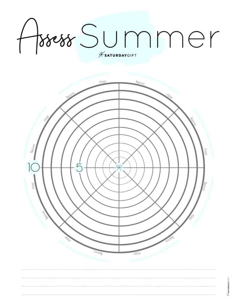 Assess your life with the summer wheel of life blue {Free printable worksheet} | SaturdayGift