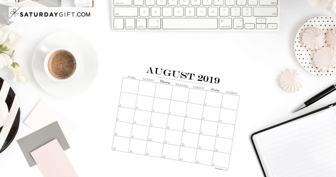 Pretty printable August 2019 Blank Calendar Vertical & horizontal Sunday Start Monday start Dated {Free Printables} | SaturdayGift