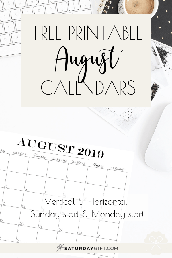 graphic regarding Pretty Calendars named Printable August 2019 Calendar Absolutely free attractive Printables