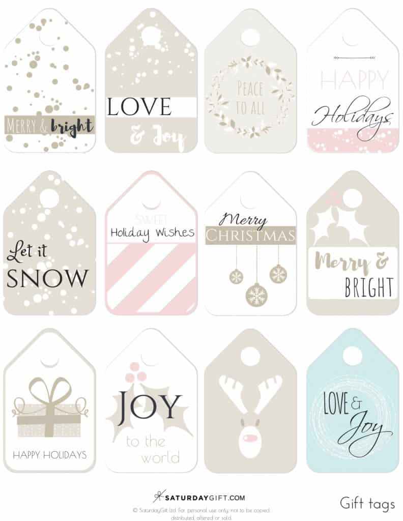 Beautiful Holiday Gift Tags - free printable | Advent Calendar | Printables | Gift tags | Secret Santa | SaturdayGift | Saturday gift #Saturdaygift #25merrydays