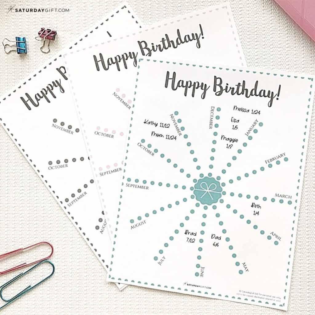 Birthday tracker with names and dates | SaturdayGift