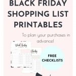 Cute printable Black Friday Shopping lists
