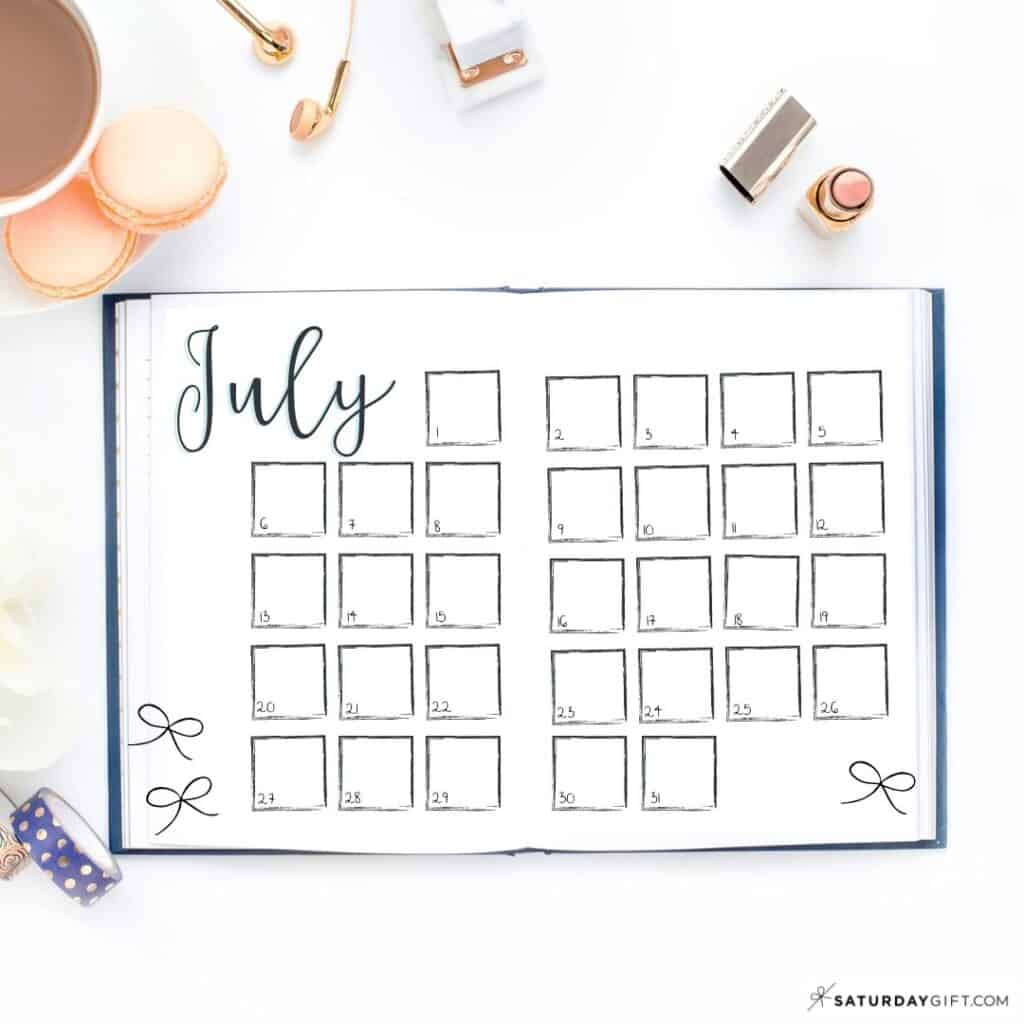 Bullet Journal Monthly Page - BuJo Monthly Spread Ideas