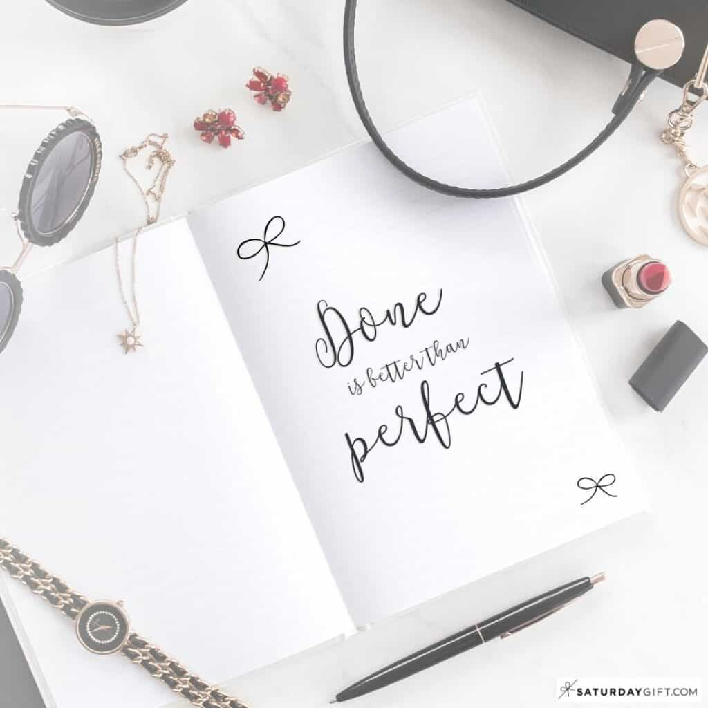 Bullet Journal Quote Page - BuJo Quote Page Ideas - Done is better than perfect
