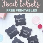 Printable Chalkboard Buffet Food Labels - gluten free, egg free, dairy free, vegan, nut free, vegetarian | SaturdayGift
