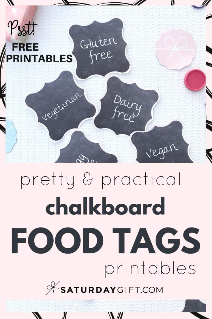 Do your guests know what they\'re eating at your party? Add these pretty food labels to your table setting they will!