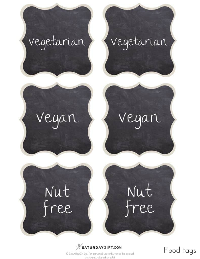 Printable: vegetarian, vegan, nut free | SaturdayGift
