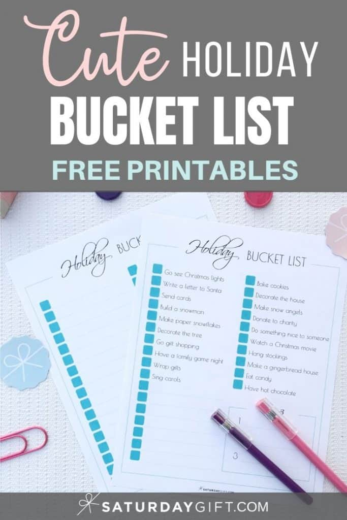 Christmas & Holiday Bucket List Ideas - free printable