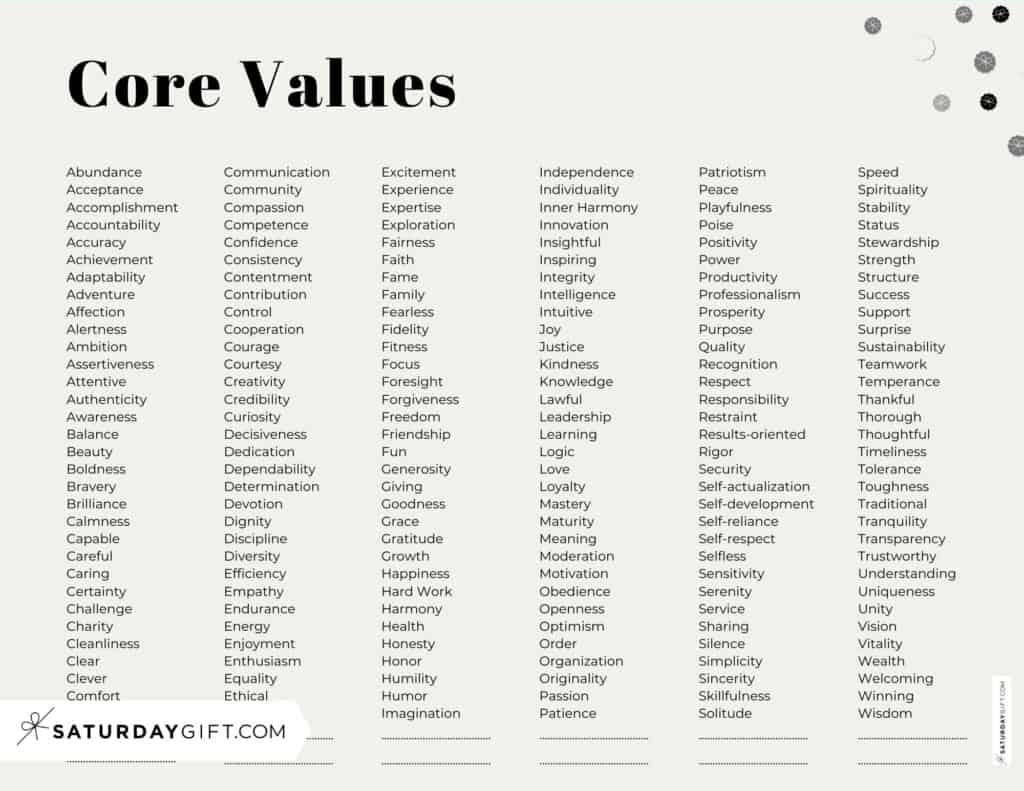 Core Values List PDF - 192 Personal Values - Alphabetical order - Horizontal Beige | SaturdayGift