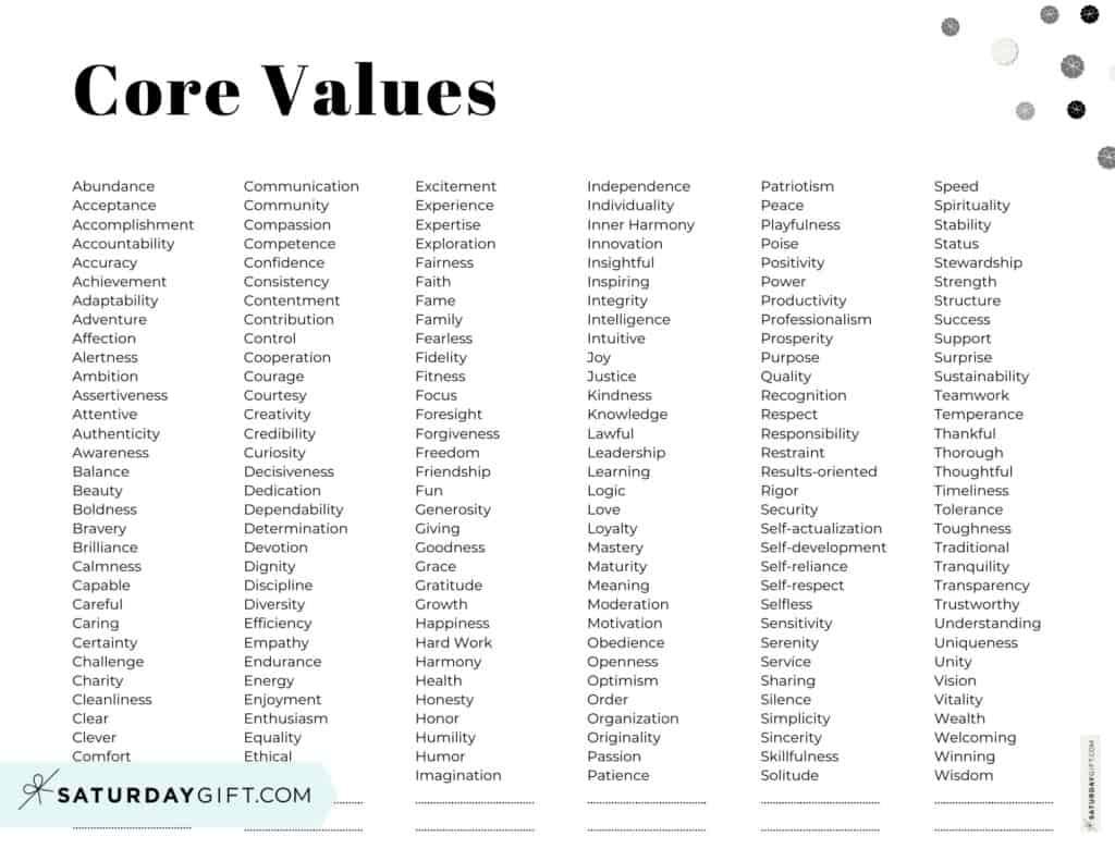 Core Values List PDF - 192 Personal Values - Alphabetical order - Horizontal Black & White | SaturdayGift
