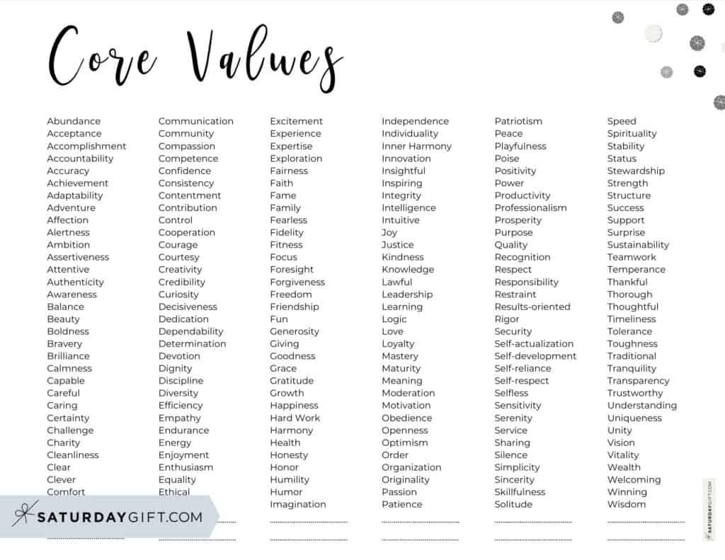 Core Values List PDF - 192 Personal Values - Alphabetical order - Horizontal Black & White Script Font | SaturdayGift