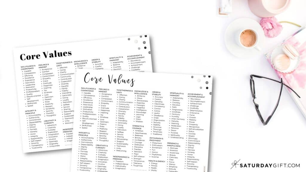 Core Values List - 192 Personal Values - Categories - Black and White Horizontal | SaturdayGift