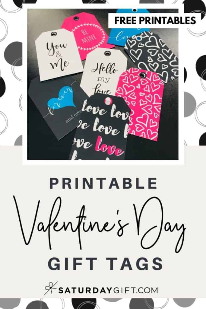 Click & download a pretty set of colorful Valentine's Day gift tags.