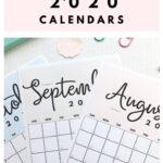 Cute Pretty Printable 2020 calendar by month | SaturdayGift