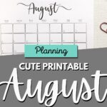 Cute printable August calendars Pinterest Image