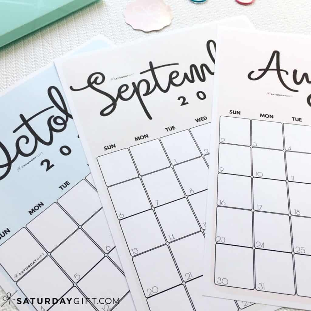 Cute Printable August, September, October Pink, blue and beige calendars by month IMG | SaturdayGift