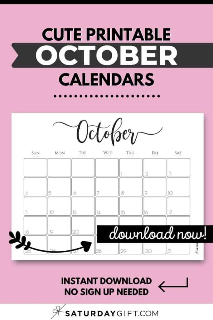 Cute printable October calendars Pinterest Image