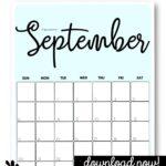 Cute printable September calendars Pinterest Image