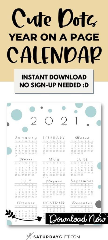 Cute Year at a glance calendar 2021