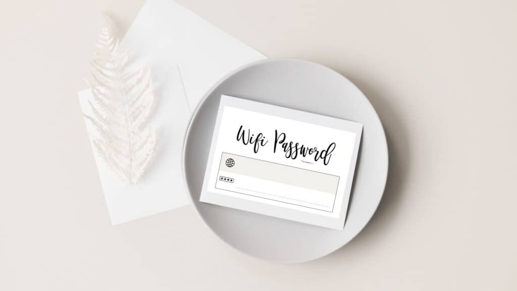 Cute and free printable wifi password sign templates - Simple beige card   SaturdayGift