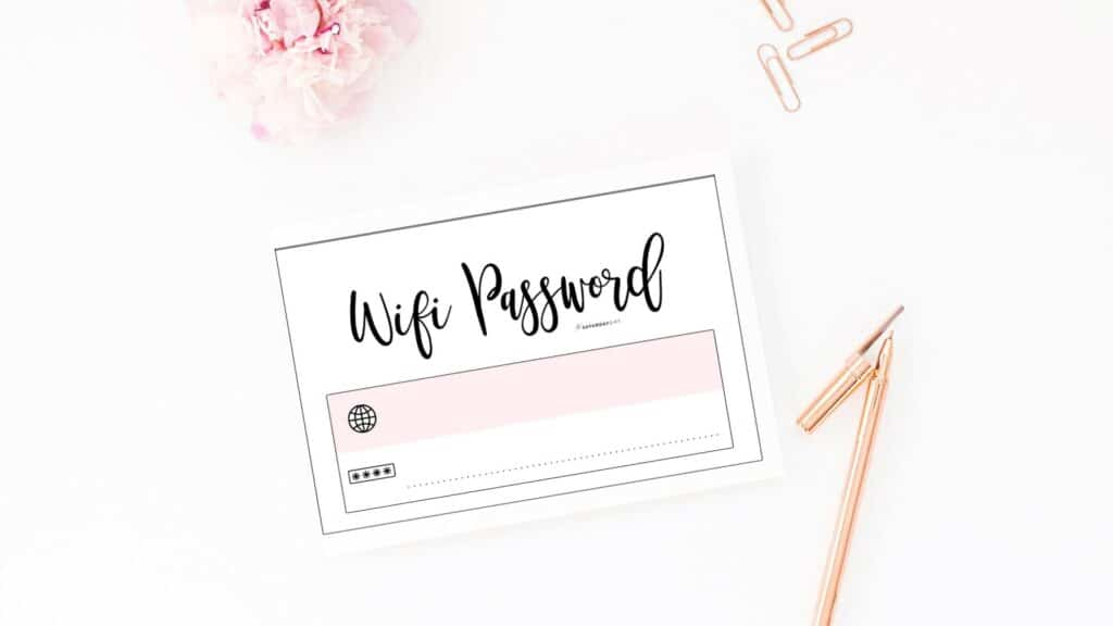 Cute and free printable wifi password sign templates - Simple pink card   SaturdayGift