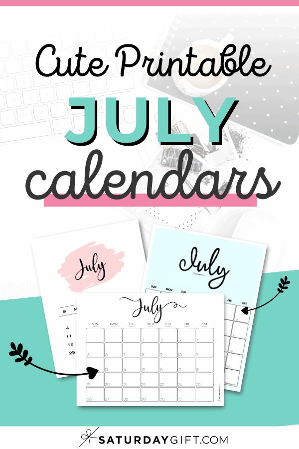 Cute printable July calendars Pinterest Image