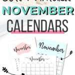 Cute printable November calendars Pinterest Image