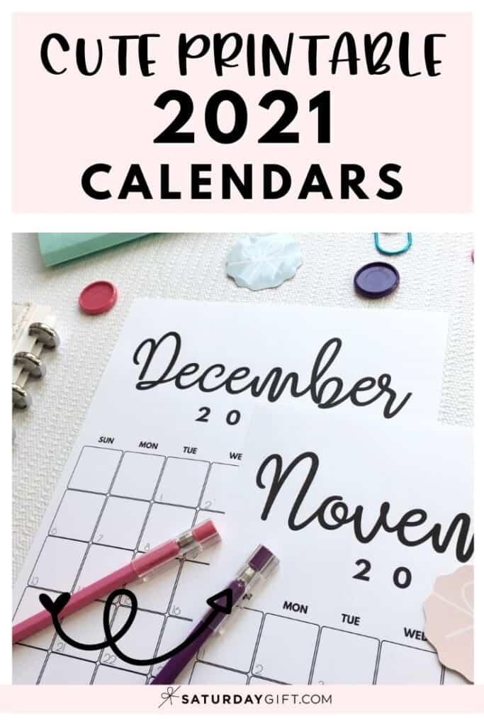 Cute printable pastel 2021 calendars