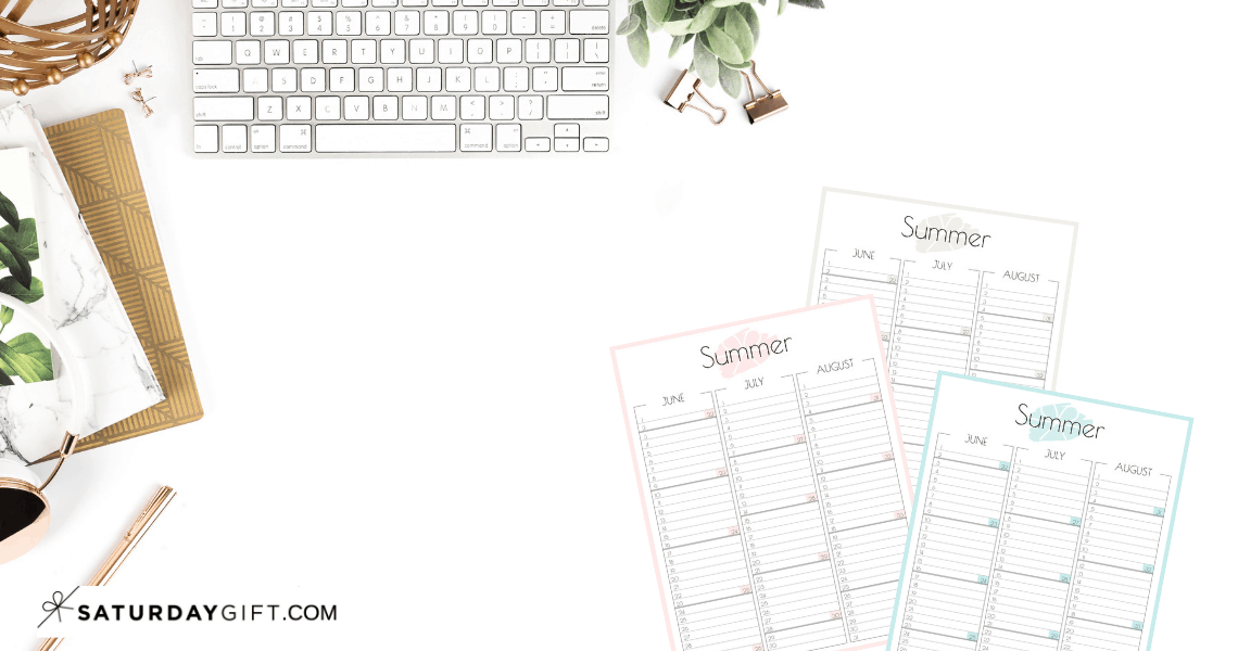 Cute summer calendar June July August 2019 - free printables | Multiple sizes | US Letter | A4 | A5 | Half Letter | Pretty printable | Planner insert | Planning & Organizing | 2019 Calendar | Minimalistic & simple | SaturdayGift | Saturday gift #SaturdayGift