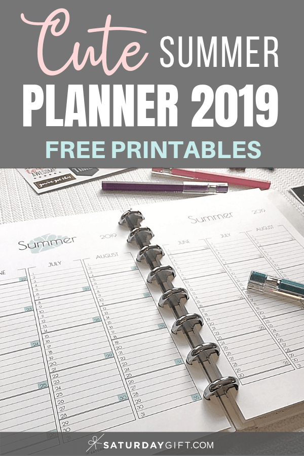 Cute summer calendar June July August 2019 - free printables | Multiple sizes | US Letter | A4 | A5 | Half Letter | Pretty printable | Planner insert | Planning & Organizing | 2019 Calendar | Minimalistic & simple | SaturdayGift | Saturday gift #SaturdayGift