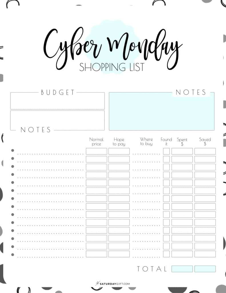 Want to plan ahead your Cyber Monday Shopping, save money and make sure you won't purchase things you didn't plan to buy? Super! Here's a pretty and practical Cyber Monday Shopping List Printable set that'll help you stay focused with all the amazing deals!