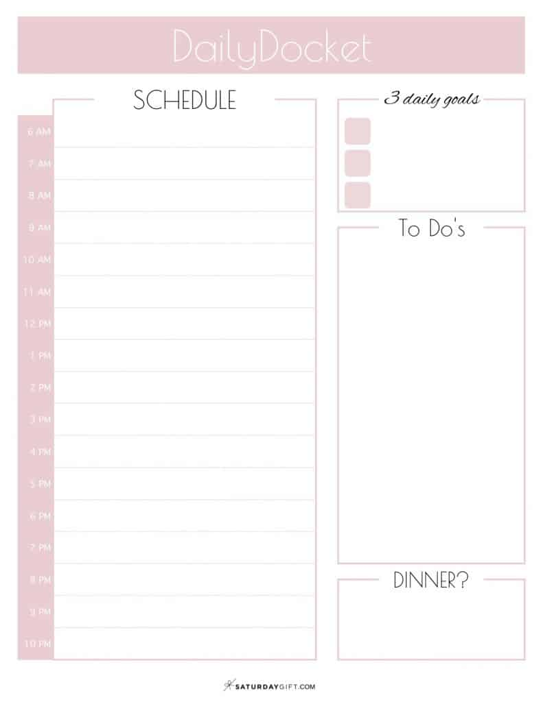 Cute Printable Daily Docket Planner Sheet