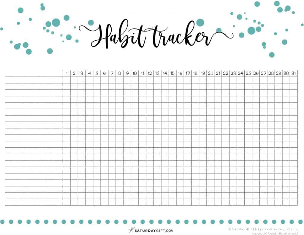 Daily Habit Tracker Free Printable Over 40 Ideas You Can Track